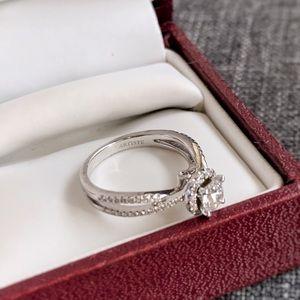 Helzberg Diamonds Halo Twist Diamond Ring